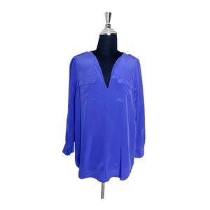 Joie Blue Silk Button Down V-Neck Blouse Small